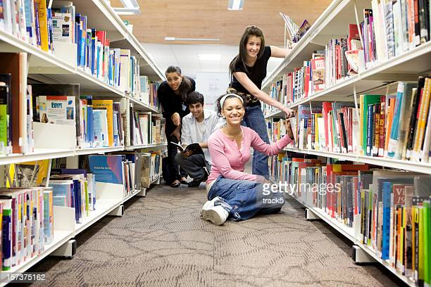 Young Students inside a College Library