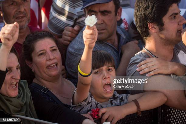 A young supporter cheers while attending the 'Justice Rally' held by Turkey's main opposition Republican People's Party leader Kemal Kilicdaroglu on...