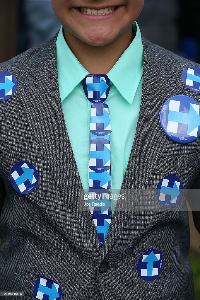 A young supporter of Democratic presidential candidate Hillary Clinton wears a tie made up of her campaign stickers as he waits for her to make a campaign stop at the Douglass Park Gynasium on May 1, 2016 in Indianapolis, Indiana. Presidential candidates continue to campaign across the state leading up to Indiana's primary day on May 3.