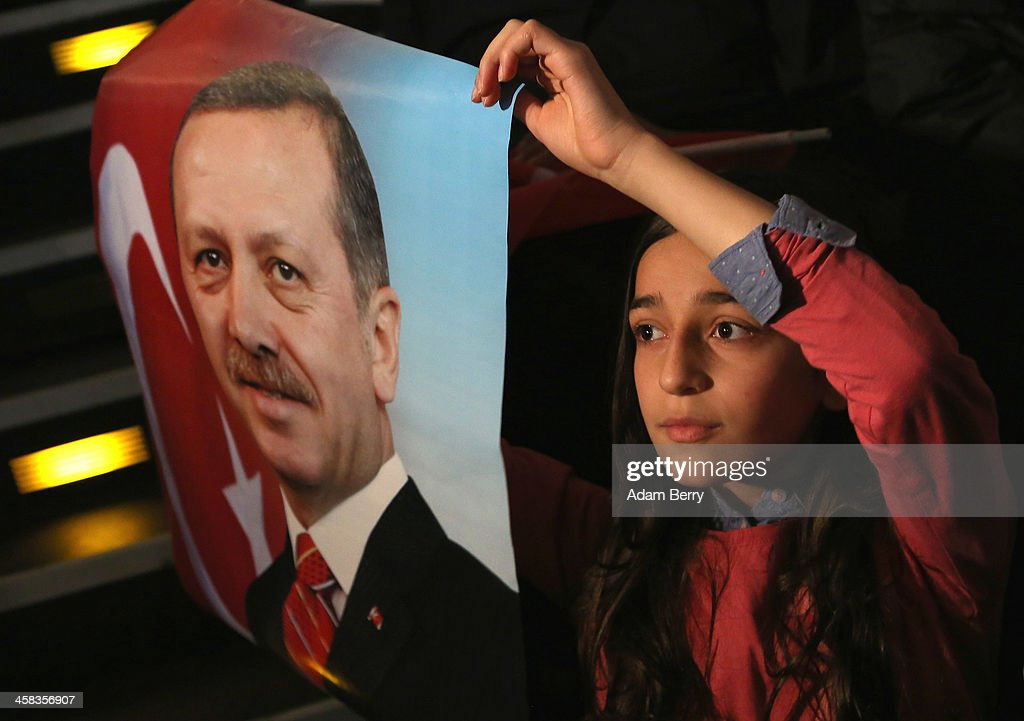A young supporter of Turkish Prime Minister Recep Tayyip Erdogan attends a rally at Tempodrom hall on February 4, 2014 in Berlin, Germany. Turkey will soon face parliamentary elections and Erdogan is vying for the votes of expatriate Turks. Berlin has the highest Turkish population of any city outside of Turkey.