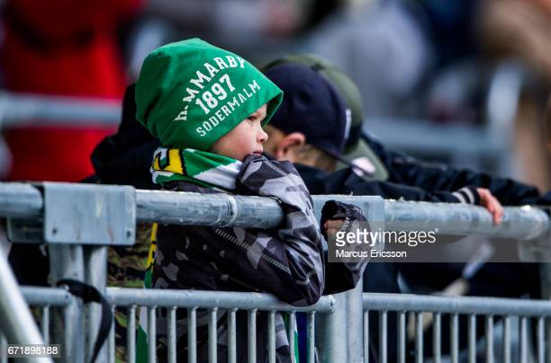A young supporter with a Hammarby IF beanie during the Allsvenskan match between Hammarby IF and GIF Sundsvall at Tele2 Arena on April 23 2017 in...