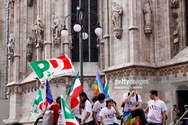 Young supporters of Democratic Party attend at the march for Liberation Day on April 25 2009 in Milan Italy The day is taken as symbolic of the...