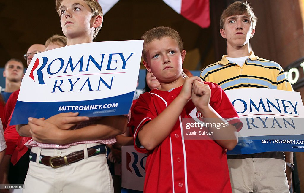 Young supporters of Republican presidential candidate, former Massachusetts Gov. Mitt Romney look on during a campaign rally at Union Terminal on September 1, 2012 in Cincinnati, Ohio. Mitt Romney will hold campaign events in Ohio and Florida.