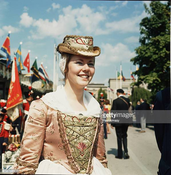 A young Swiss woman in traditional costume from the canton of Valais
