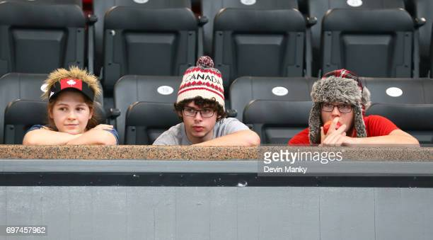 Young Team Canada fans watch the action during the Team Men's Sabre event on June 18 2017 at the PanAmerican Fencing Championships at Centre...