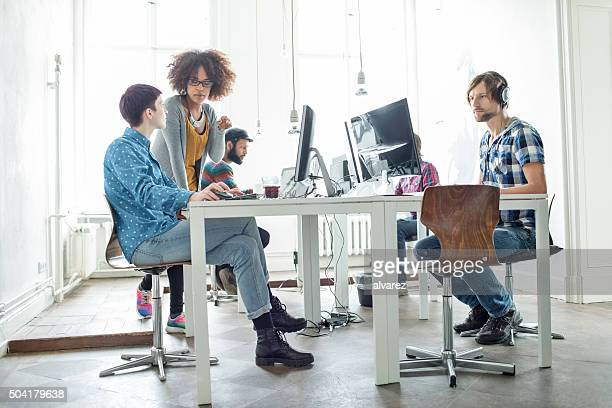 Young team working at a startup