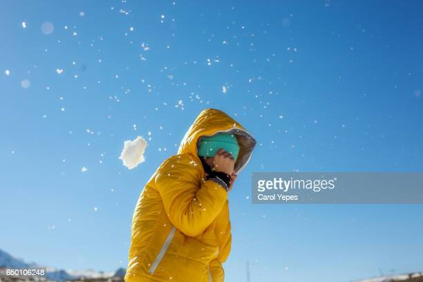 young teen enjoying snow
