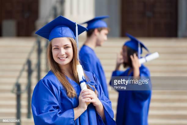 Young Teenage Woman Graduation Portrait in School