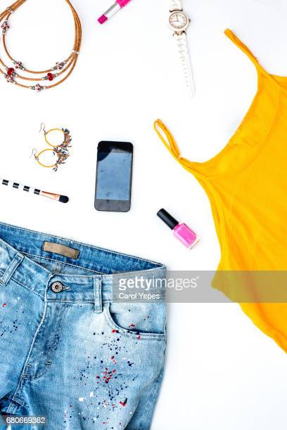 young teenager feminine clothes .Above view