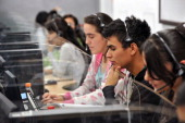 BAUTISTA Young telemarketers work in a call center in Manizales Caldas Department Colombia on September 20 2011 Thousands of inhabitants of Manizales...