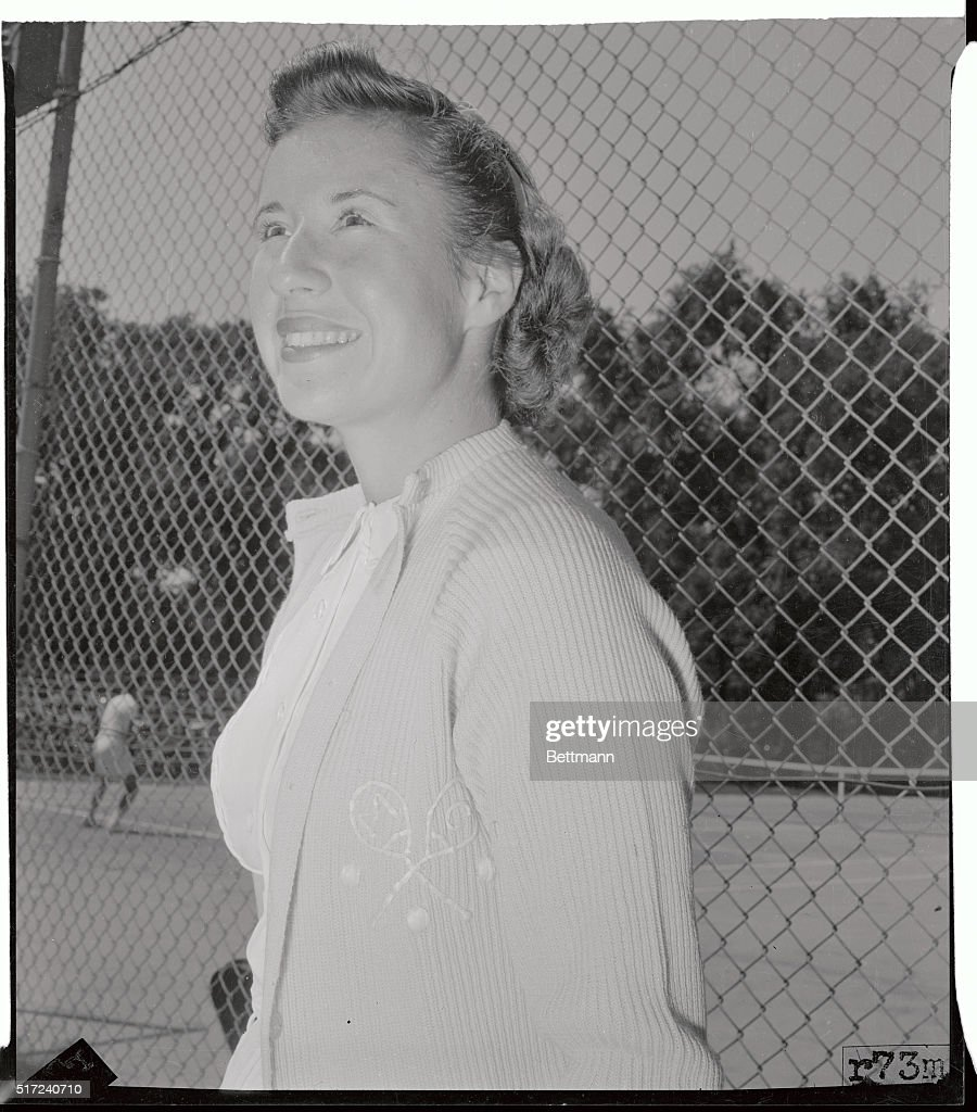 Portrait of Maureen Connolly Standing by Fence