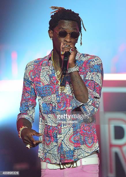 young Thug performs at the BET Hip Hop awards at Boisfeuillet Jones Atlanta Civic Center on September 20 2014 in Atlanta Georgia