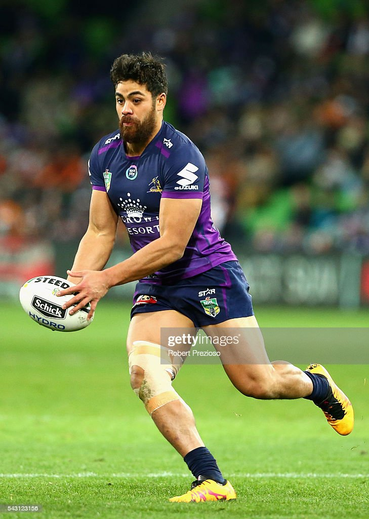 Young Tonumaipea of the Storm runs during the round 16 NRL match between the Melbourne Storm and Wests Tigers at AAMI Park on June 26, 2016 in Melbourne, Australia.