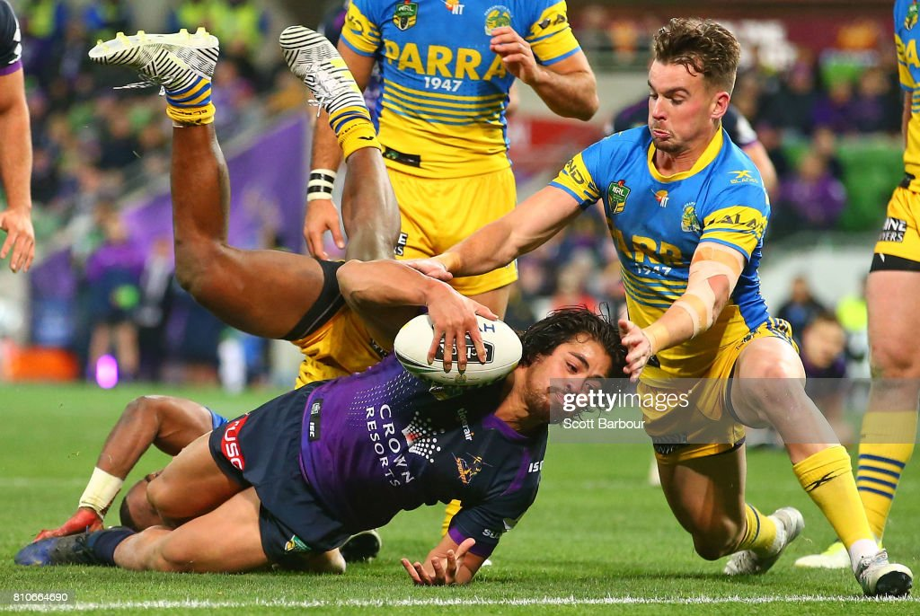 Young Tonumaipea of the Storm unsuccessfully attempts to score a try during the round 18 NRL match between the Melbourne Storm and the Parramatta Eels at AAMI Park on July 8, 2017 in Melbourne, Australia.
