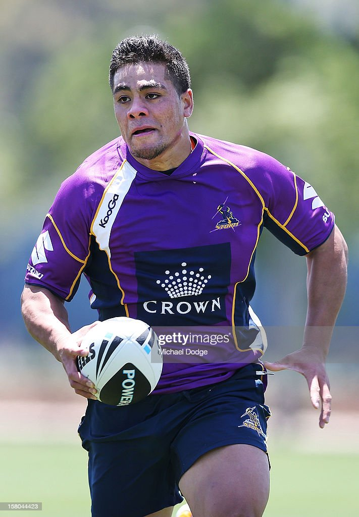 Young Tonumaipea runs with the ball during a Melbourne Storm NRL training session at Gosch's Paddock on December 10, 2012 in Melbourne, Australia.