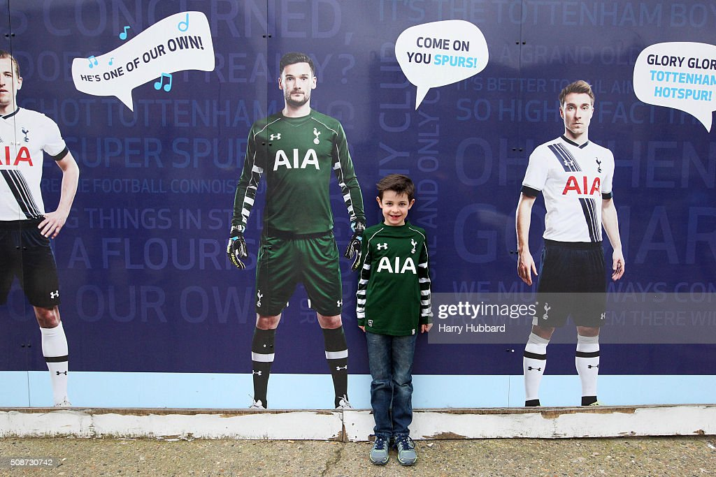 A young Tottenham Hotspur fan stands outside the ground before the Barclays Premier League match between Tottenham Hotspur and Watford at White Hart Lane on February 6, 2016 in London, England.
