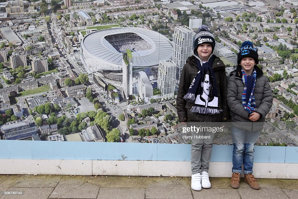 Young Tottenham Hotspur fans stand outside the ground before the Barclays Premier League match between Tottenham Hotspur and Watford at White Hart Lane on February 6, 2016 in London, England.