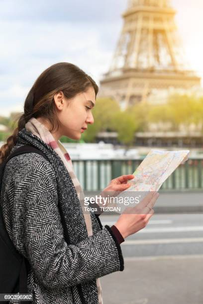 Young tourist woman in Paris