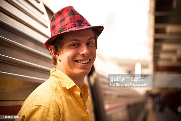Young train passenger