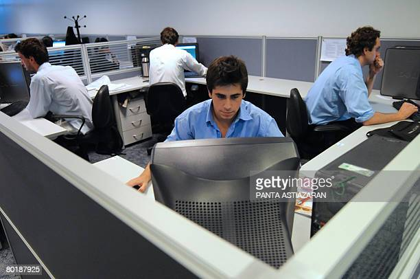 Young Uruguayan computer engineers at work at Tata Consultancy Services' building in Zonamerica an industrial and technological free zone in the...