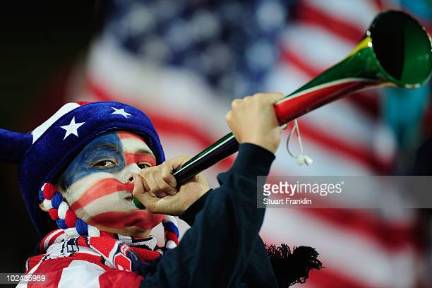A young USA fan blows a vuvuzela prior to the 2010 FIFA World Cup South Africa Round of Sixteen match between USA and Ghana at Royal Bafokeng Stadium...
