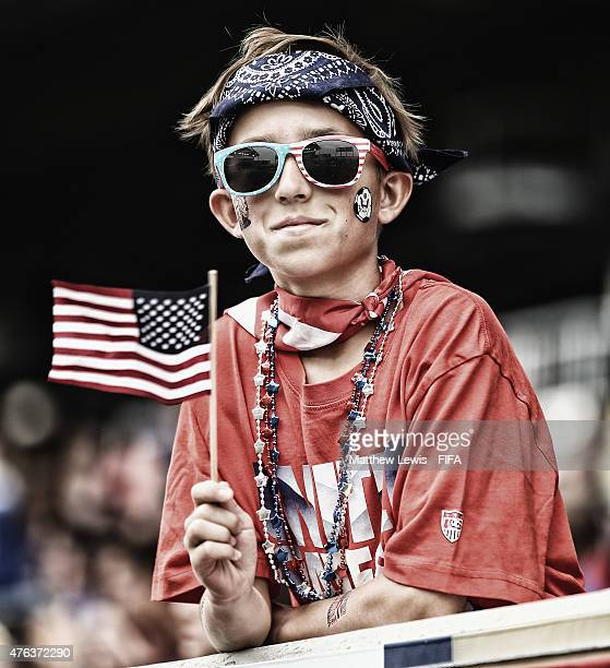 A Young USA fan looks on ahead of the FIFA Women's World Cup 2015 Group D match between USA and Australia at Winnipeg Stadium on June 8 2015 in...
