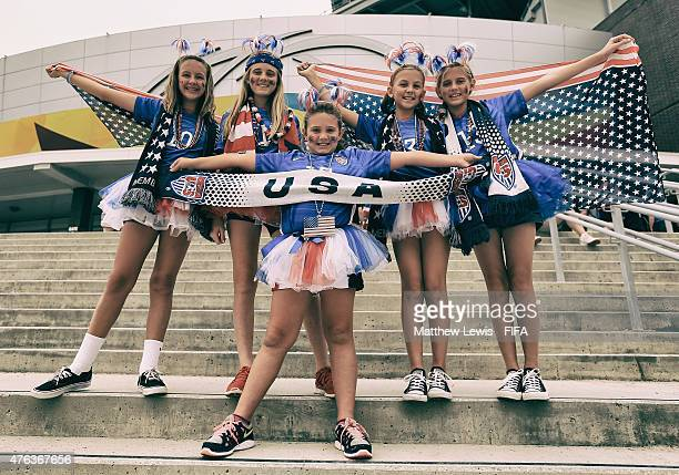 Young USA fans show their support to their team ahead of the FIFA Women's World Cup 2015 Group D match between USA and Australia at Winnipeg Stadium...