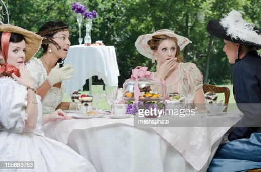 Young victorian woman gossiping