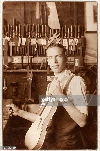 Young Violin Maker in Workshop