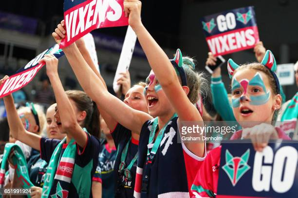 Young Vixens fans show their support during the round four Super Netball match between the Vixens and the Fever at Hisense Arena on March 11 2017 in...