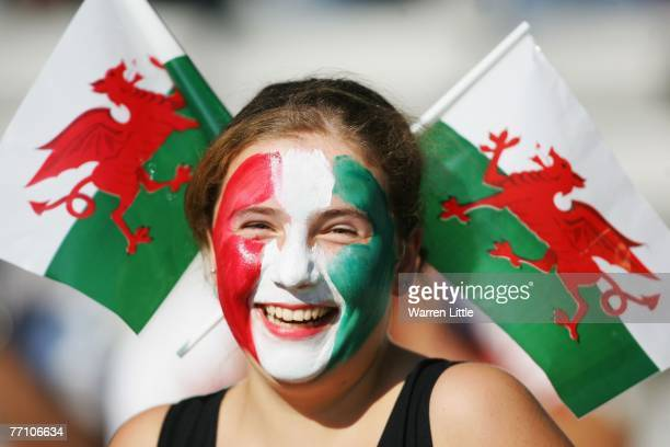 A young Wales fan enjoys the atmosphere prior to kickoff during the Rugby World Cup 2007 Pool B match between Wales and Fiji at the Stade de la...