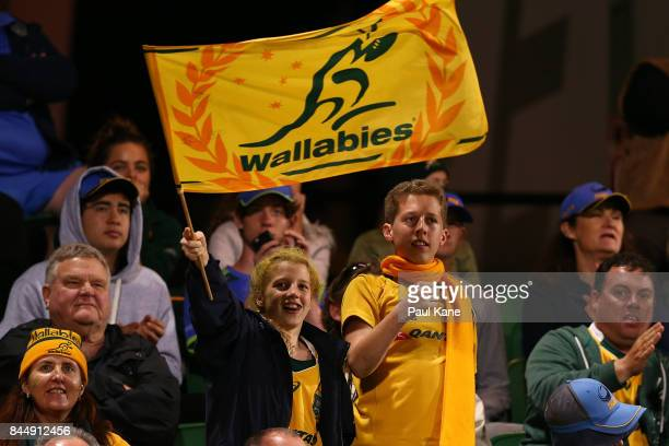 Young Wallabies fans show their support during The Rugby Championship match between the Australian Wallabies and the South Africa Springboks at nib...