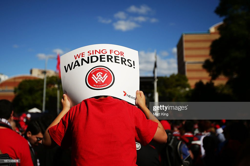 A young Wanderers fan shows his support during a Western Sydney Wanderers A-League Civic Reception on April 23, 2013 in Parramatta, Australia.