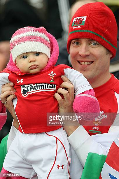 A young Welsh fan shows her colours ahead of the IRB Rugby World Cup Pool D match between Wales and Fiji at Waikato Stadium on October 2 2011 in...