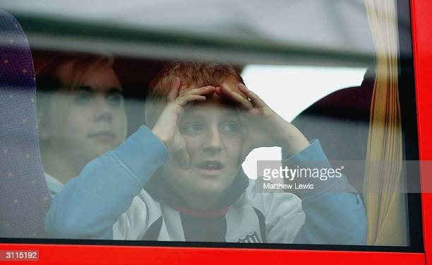 A young West Bromwich Albion fan looks on at the Nationwide Division One match between Stoke City and West Bromwich Albion at The Britannia Stadium...