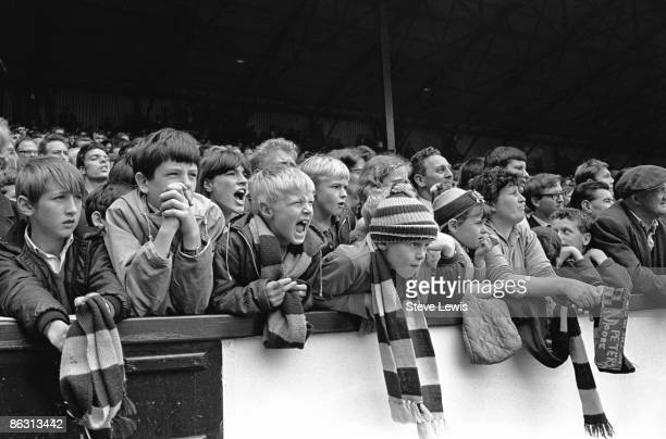 Young West Ham supporters at a match in the East End of London 1960s