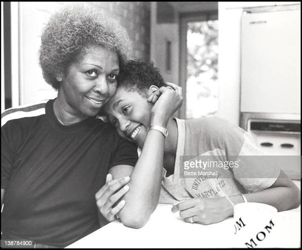 A Young Whitney Houston is seen pictured with mother Cissy Houston in their family home circa 1982 in West Orange New Jersey