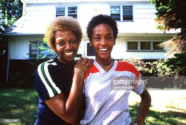 A Young Whitney Houston poses with her mother Cissy Houston circa 1982 in West Orange New Jersey