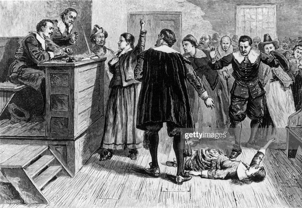 1692 A young woman accused of witchcraft in Salem Village Massachusetts tries to defend herself in front of Puritan ministers