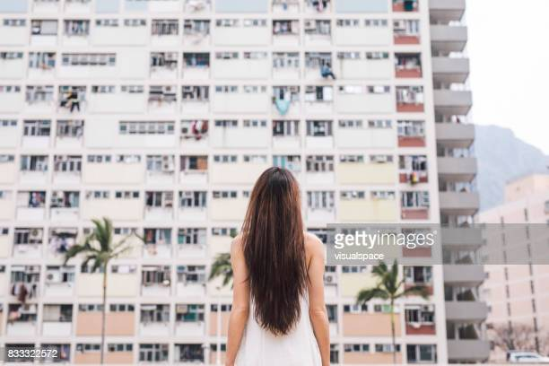 Young Woman Admiring Architecture