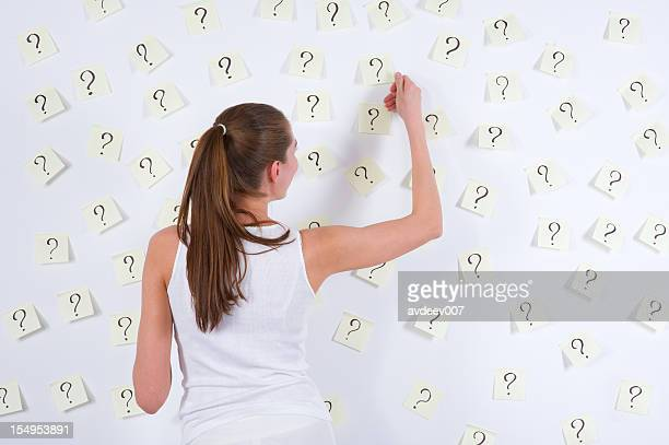 Young woman against stickers with questions