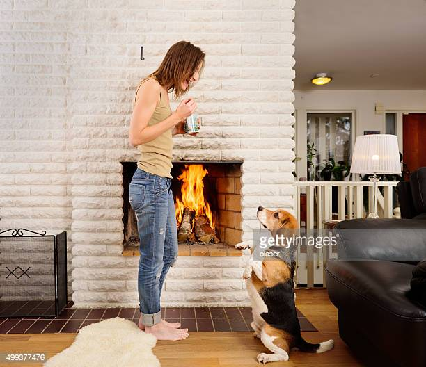 Young woman and beagle playing/training next to fireplace