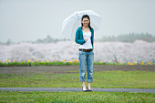 Young Woman and Cherry Blossoms in the Background, Differential Focus, Front View