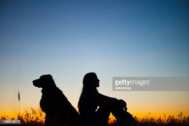 Young Woman And Her Guard Dog