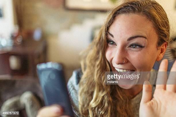 Young woman and her mobile phone