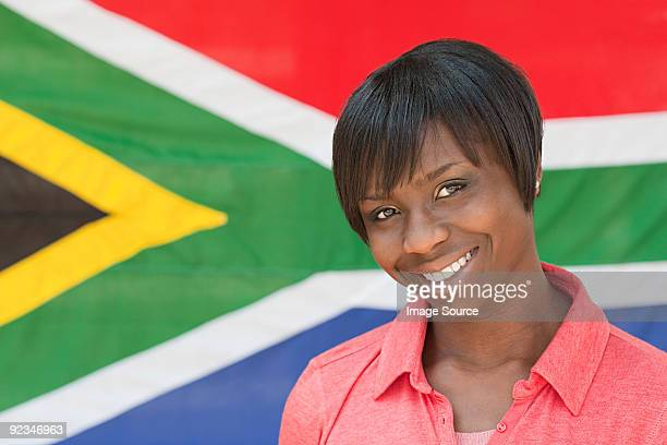 Young woman and south african flag