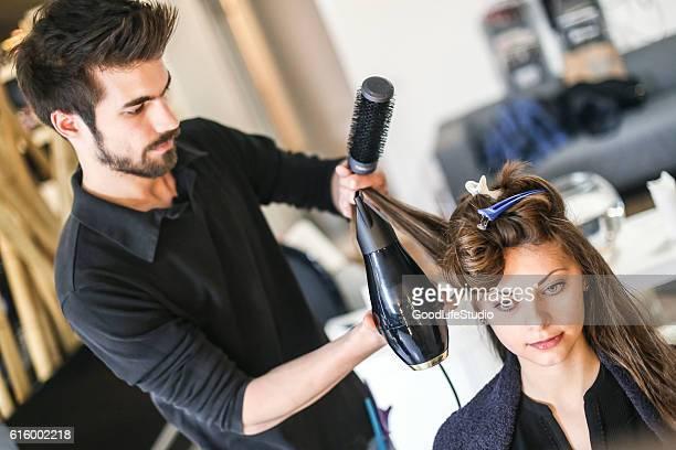 Young woman at a hair salon