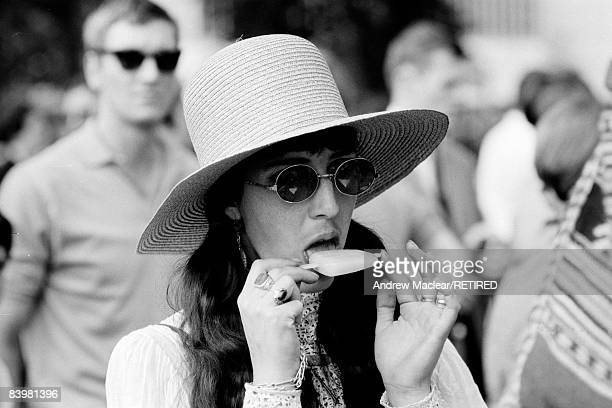 A young woman at an event in Hyde Park London 1968