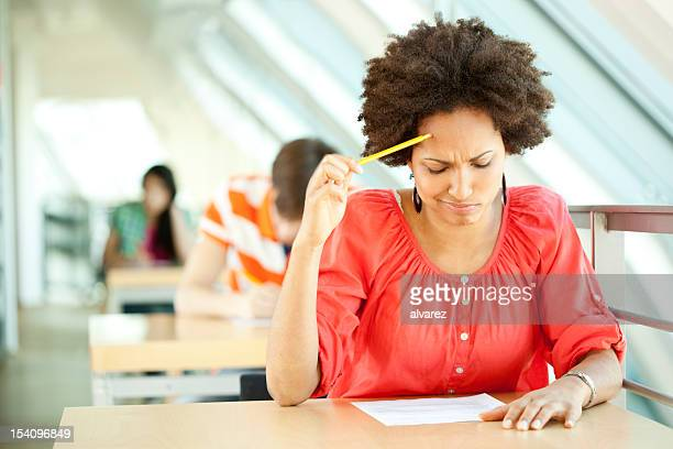 Young woman at an exam