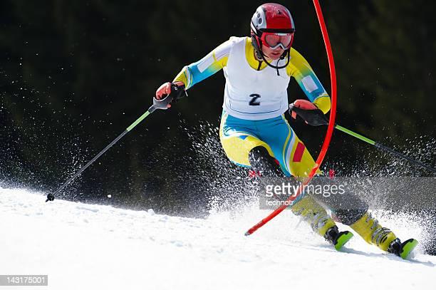Young woman at slalom ski race